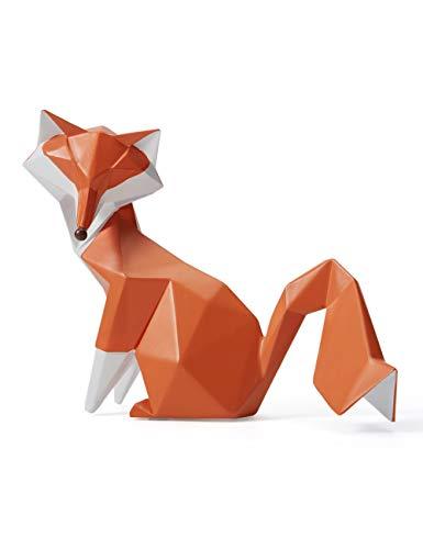Amoy-Art Skulptur Figur Fuchs Statue Art Geometrisch Tier Dekor für Haus Wohnzimmer Geschenk Andenken Giftbox Resin 20cmL