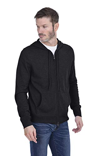 Cashmeren Men's Zip Up Hoodie 100% Pure Cashmere Long Sleeve Full Zip Down Pullover with Pockets (Charcoal, Medium)