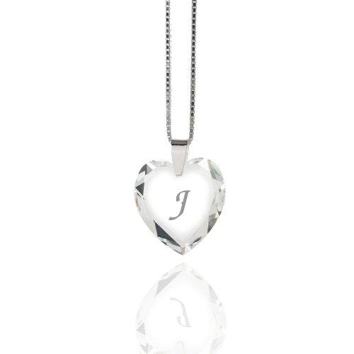 Damen Halskette 925 Sterling Silber mit SWAROVSKI ELEMENTS Herz Crystal Buchstabe: J
