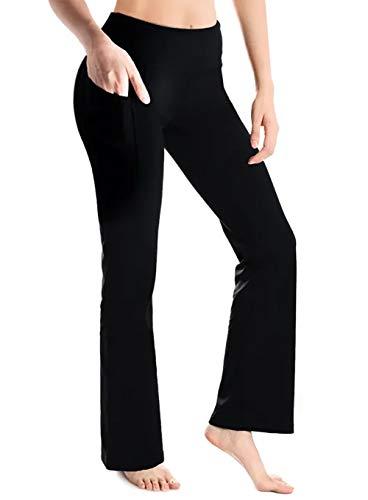 """Yogipace, 68,6 cm / 73,7 cm / 78,7 cm / 88,9 cm Damen Bootcut Yoga Hose Workout Pants Seitentaschen, Damen, Schwarz (2 Seitentaschen)., X-Large/27"""" Inseam"""