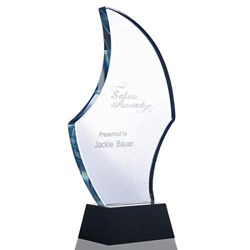 H&D Kristallen Trofee met Gratis Graveren Awards Zwarte Basis Nieuwe Vorm Ontwerp Plaque Gepersonaliseerd