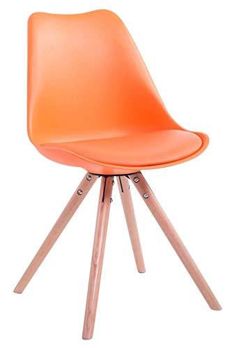 CLP Retro-Stuhl Toulouse Rund Mit Kunstlederbezug | Kunstoff-Lehnstuhl Mit Holzgestell, Farbe:orange, Gestell Farbe:Natura (Eiche)