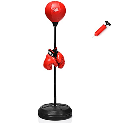COSTWAY Punchingball 120-154cm höhenverstellbar, Standboxball freistehend, Boxsack Set, Boxset, Box Set inkl. Boxhandschuhe und Handpumpe, Geeignet für Erwachsene, Jungen und Mädchen ab 8 Jahren