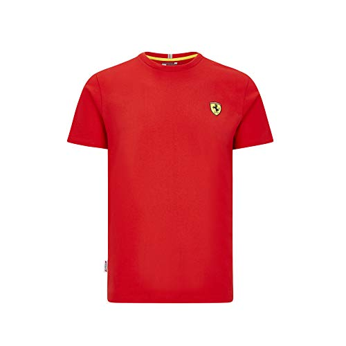 Ferrari Scuderia F1 Herren T-Shirt Small Shield Schwarz/Rot (XL, Rot)