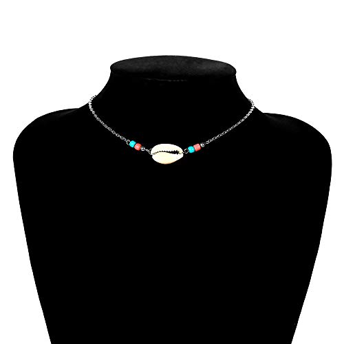 Chocker Shell Femmes Collier Court, Bohemia Style Réglable 12,5 + 3.93In Alliage Shell Collier, Or/Argent Beach Party First Choice, Cadeau pour Petite Amie/Maman,Argent