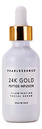 Pearlessenece 24k Gold Peptide Infusion Illuminating Facial Serum - Moisturizes and Helps Repair, Revitalize, and Brighten Skin for a Radiant, Youthful Glow   Made in USA