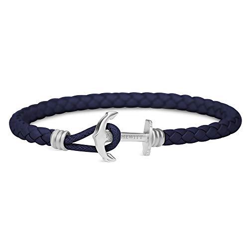 PAUL HEWITT Bracelet Femme & Homme PHREP Lite - Cadeau Homme & Femme, Bracelet Cuir (Bleu Marine), Fermoir Ancre en INOX (argenté)