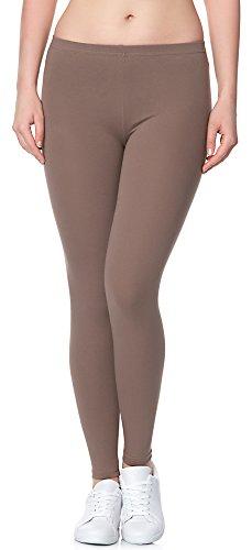 Ladeheid Damen Leggings Long aus Baumwolle LAMA02 (Beige16, XS/S)