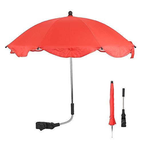 Demeras - Ombrello parasole per passeggino, regolabile, universale, per bicicletta, passeggini, moto, colore: Rosso/Blu