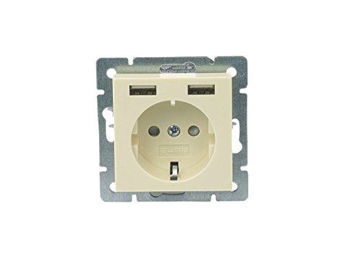 Preisvergleich Produktbild 2USB 1493576 1fach Unterputz-Steckdose mit USB,  Kinderschutz IP20 Creme-Weiß
