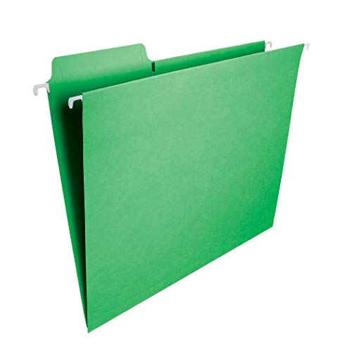 Smead FasTab Hanging File Folder, 1/3-Cut Built-in Tab, Letter Size, Green, 20 per Box (64098)