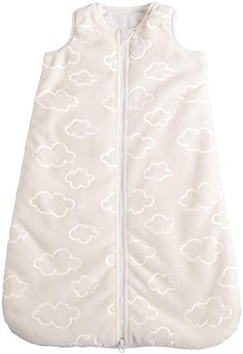 POCOPIANO® Baby Winterschlafsack | Schlafsack aus weichem Plüsch | Innenfutter aus 100% Baumwolle (wollweiß - Wölkchen, 70 cm - ca. 0-6 Monate)