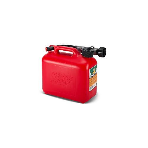 Never Stop 2605RED-PE3H Benzinkanister 5L rot mit Überfüllschutz aus Kunststoff