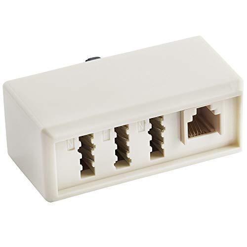 BestPlug Telefon Fax Adapter Verteiler Splitter Weiche Verbindungsstück, 1 TAE-F Stecker auf 1 TAE-F Buchse, 2 TAE-N Buchse und 1 RJ11 Buchse Kupplung weiblich, Weiss