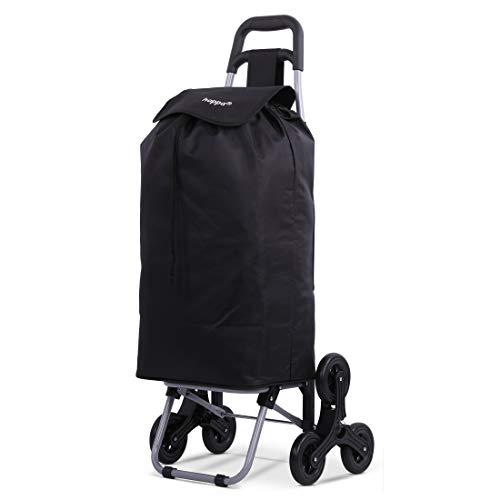 Hoppa Leichter Einkaufstrolley mit 6 Rädern, zusammenklappbar, groß, 47 l Kapazität, 95 cm, 2 kg, Treppensteiger zum Schieben und Ziehen (schwarz)