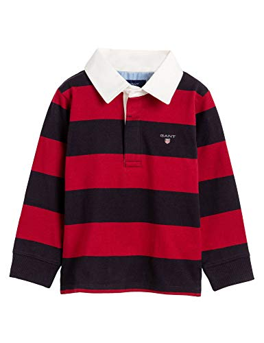 GANT Kinder Unisex Langarm Poloshirt Original Barstripe LS gestreift in Blau-Rot Größe 110/116