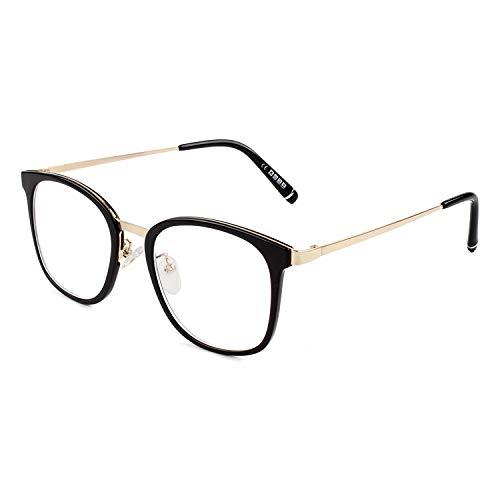 GQUEEN Modebrille Brille Ohne Stärke Fake Brille Damen Herren Rechteck PG32