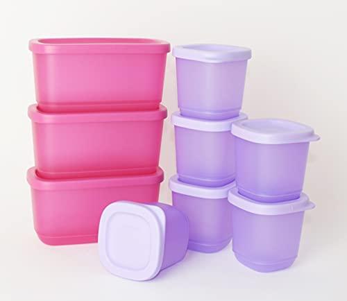 TUPPERWARE Eisscholle Cubix Gefrier-Behälter Gefrierbehälter 6X 110ml Flieder + 3X 250ml Pink + Mini Trichter Lila