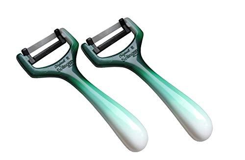 Pelapatate a pendolo, trasversale, asparagi, in acciaio Solingen. Coltello da taglio/grattugia per verdure, cetriolo, destrorsi e mancini. verde