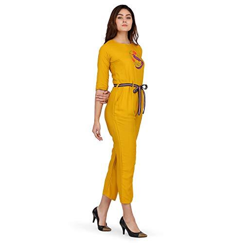 J B Fashion Women's Riyon Cotton Multi Color Jumpsuit (Large, Yellow) (Yellow, Medium)