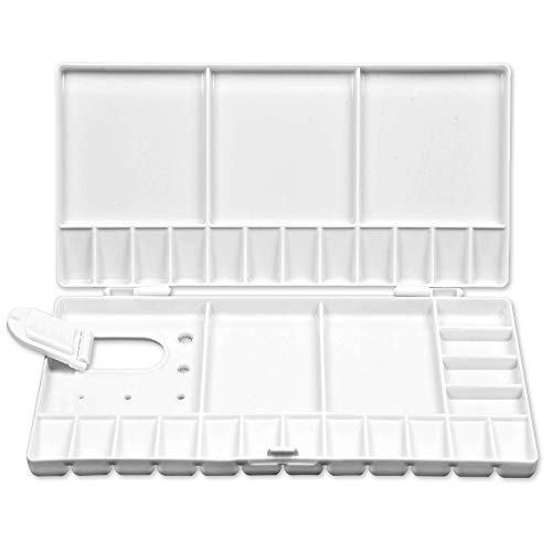 Mifuner Artist Portable White Watercolor Paint Palette Case Folding Palette Box 28 Wells for Watercolor, Gouache, Acrylic and Oil Paint with 5 Mixing Areas,Large