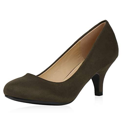 SCARPE VITA Damen Klassische Pumps Stiletto Mid Heels Basic Wildleder-Optik Schuhe Party Abendschuhe Elegante Absatzschuhe 192597 Olivgrün 37