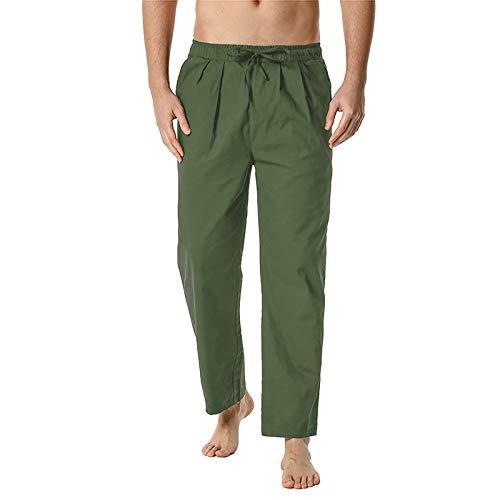 Lenfeshing Pantalones de Cintura Elástica para Hombre Livianos Pantalones de Yoga Pantalones Caseros Pantalón Casual Holgado de Lino y Algodón