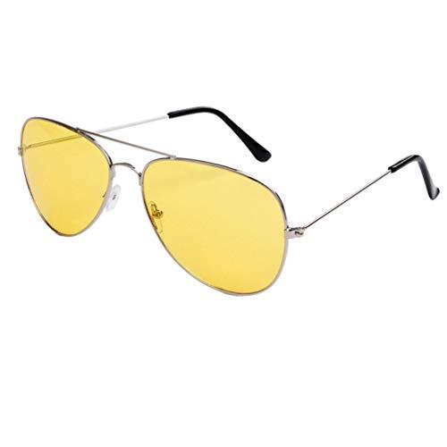 SWEEPID Gafas de sol polarizadas de visión nocturna con marco grande para hombres y mujeres, gafas UV400 de sol de conducción, color plateado y amarillo