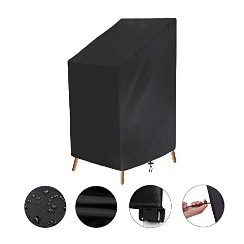 resistente al agua Funda para silla apilable pr/áctica funda para silla para almacenamiento al aire libre resistente al desgarro color negro a prueba de polvo