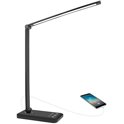 AUELEK Lámpara Escritorio LED, Lámparas de Mesa USB Recargable con Temporizador 52 SMD Leds, 5 * 10 Modos de Brillo, 2000mAh Flexo Escritorio Luz con Diseño Giratorio/Control Táctil (Negro)