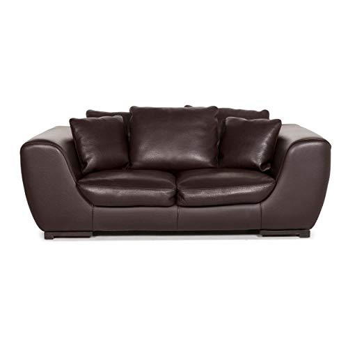 Roche Bobois Leather Sofa Brown Dark Brown Two-Seater Couch