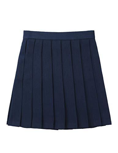 YiZYiF Falda Escolar Chica Mujer Uniforme Colegio Falda Plisada A-Línea Disfraz Anime Japonés Marinera Mini Faldas Cintura Alta Skating Tenis Talla S-3XL Azul Marino S