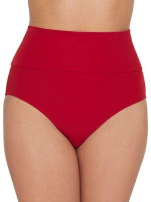Miss Mandalay Icon High-Waist Fold-Over Bikini Bottom, S, Ruby Red