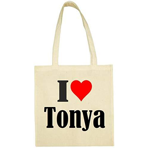 Tasche I Love Tonya Größe 38x42 Farbe Natur Druck Schwarz