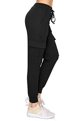 ALWAYS Women's Ribbed Cargo Jogger Sweatpants - Premium Soft Winter Warm Stretch Rib Knit Pants with Pockets Black L
