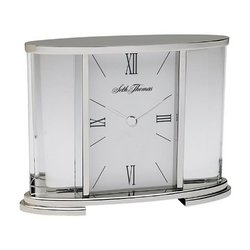 - Seth Thomas Silver Glass Carriage Table Clock