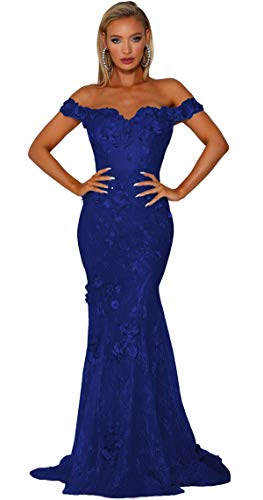 Uryouthstyle Off The Shoulder Mermaid Prom Dresses Lace Long Floral Evening Gowns Formal Royal blue-14