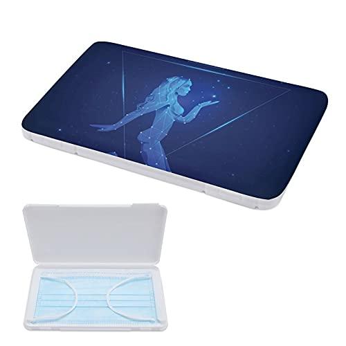 ERDG clip de rangement de masque réutilisable boîte de rangement en plastique portable clip de rangement anti-pollution boîte de rangement boîte de rangement de masqueAbstract Blue Girl