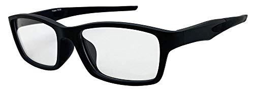 Face Trick glasses カッコいい・かけやすい老眼鏡 TR-90スポーティフレーム ストレートテンプル UV410クリア老眼鏡レンズ/ブルーライトカット鯖江メーカー高性能レンズ老眼鏡 ブラックマットフレーム RGC6127-9 +1.50