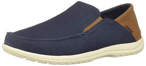 Crocs Men's Santa Cruz Convertible Slip On Loafer Casual Shoes, Navy/Hazelnut, 8 M US