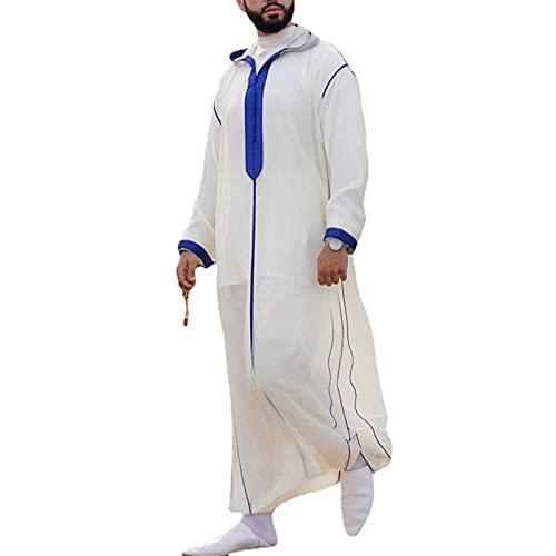 Hombre Camisón Musulmán Thobe para Los Hombres, Casual Suelto Sudaderas con Capucha de Atuendo Pijama Batas Ropa de Dormir con Mangas Largas Desgaste Árabe de Dubai (Color : White, Size : 4XL)