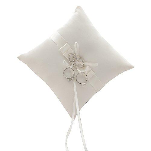 Awtlife Cojín para anillo de boda de doble corazón con diamantes de imitación, color marfil
