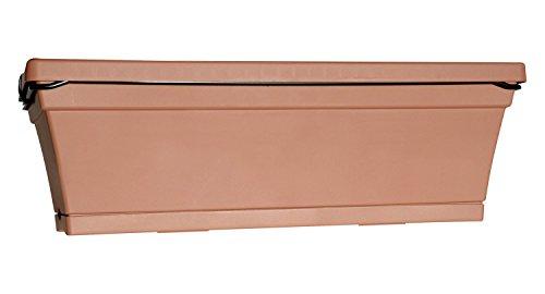 ebertsankey 4 Stück Pflanzkasten Athen - 22x50x20 cm (H/T/B) - inkl. integrierter Halterung und Untersetzer - 50 cm - Terracotta