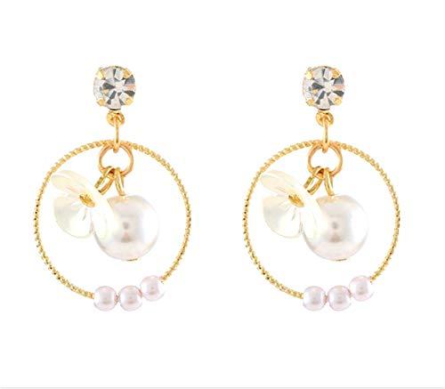 Pendientes de plata 925 con perlas de aguja de plata de ley 925 para regalos de Navidad, bonitos regalos de cumpleaños para mamá y niña