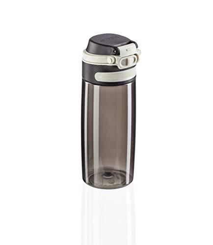 Leifheit Flip Tritan Borraccia tritan 550 ml, Borraccia acqua a chiusura ermetica e resistente al calore, Borraccia palestra, scuola e ufficio portatile, nero