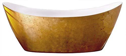 Bernstein Badshop Freistehende Badewanne SIENA Acryl Gold 173 x 73 cm - Standbadewanne mit Blattgold-Oberfläche