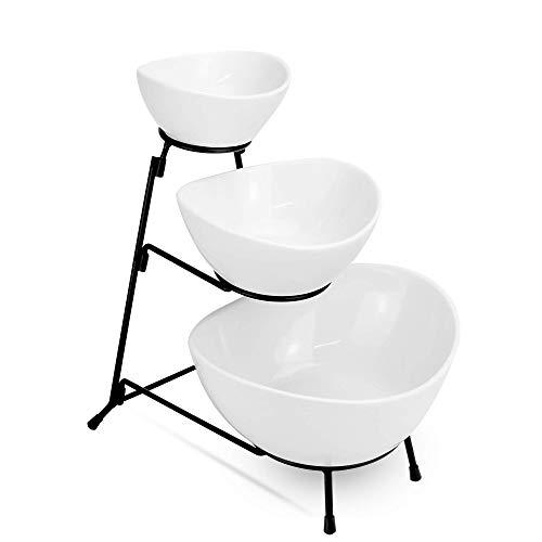 Dreistufiger Ständer mit Schalen | Drei gestufte Kuchen-Serviertabletts | Küchenfutter Display | Dessert-Präsentationsstand | Party Essen Tablett Set | M&W