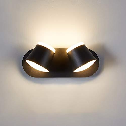 AZYJBF Aplique Interior Bañador de Pared con 2 Focos LED Giratorios y Orientables 2 x 5W Blanco Cálido ara Dormitorio,Bar, Dormitorio, Sala de Estar, Restaurante