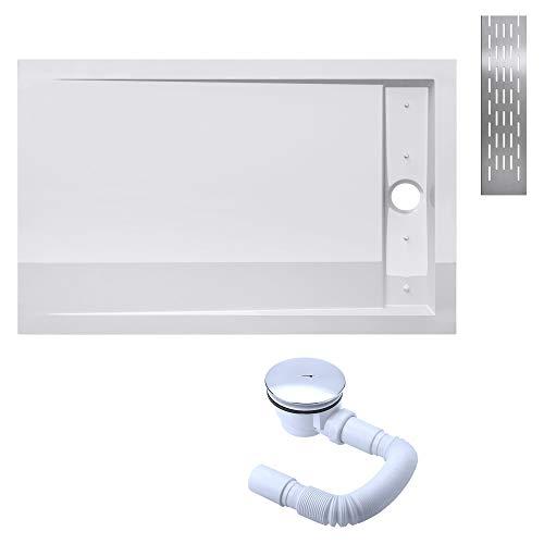Sogood Duschtasse Duschwanne Xetro04W 90x120x5 flach inkl. Ablaufgarnitur aus Acryl in Weiß Rechteckig DIN-Anschlüsse für bodenebene Montage geeignet