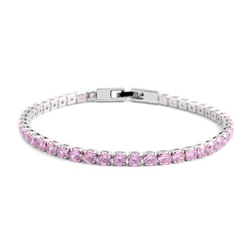 "Shop LC Delivering Joy Pink Cubic Zirconia CZ Silvertone Tennis Bracelet Jewelry for Women 8"""